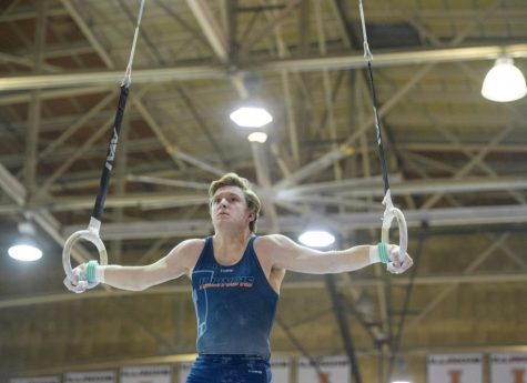 Senior Danny Graham competes in the rings event during the match against Oklahoma on March 17, 2018