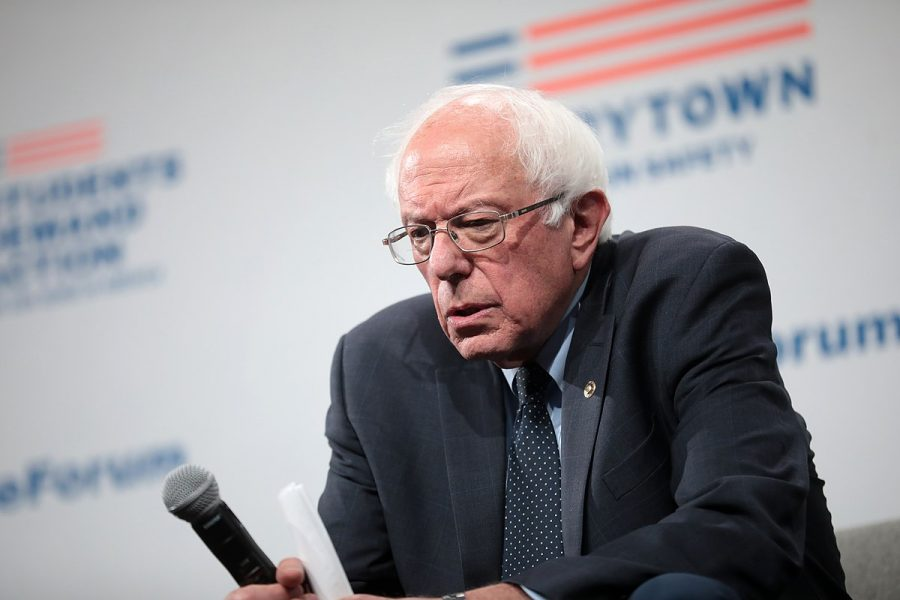 U.S. Senator Bernie Sanders speaking with attendees at the Presidential Gun Sense Forum at the Iowa Events Center in Des Moines, IA on Aug. 10, 2019.