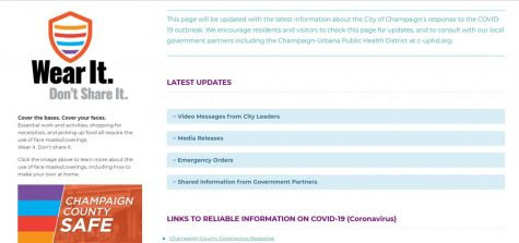 The landing page for Champaign's COVID-19 response offers tips and information to the public on Friday.
