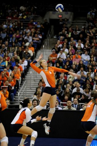 Senior Michelle Bartsch serves the ball during the NCAA Championship against UCLA on Dec. 17, 2011
