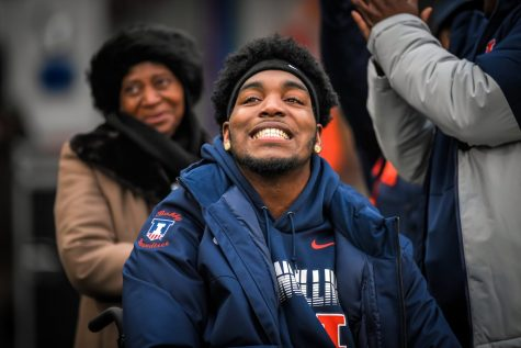 Junior Bobby Roundtree attends the final home football game of the season against Northwestern on Nov. 30, 2019.