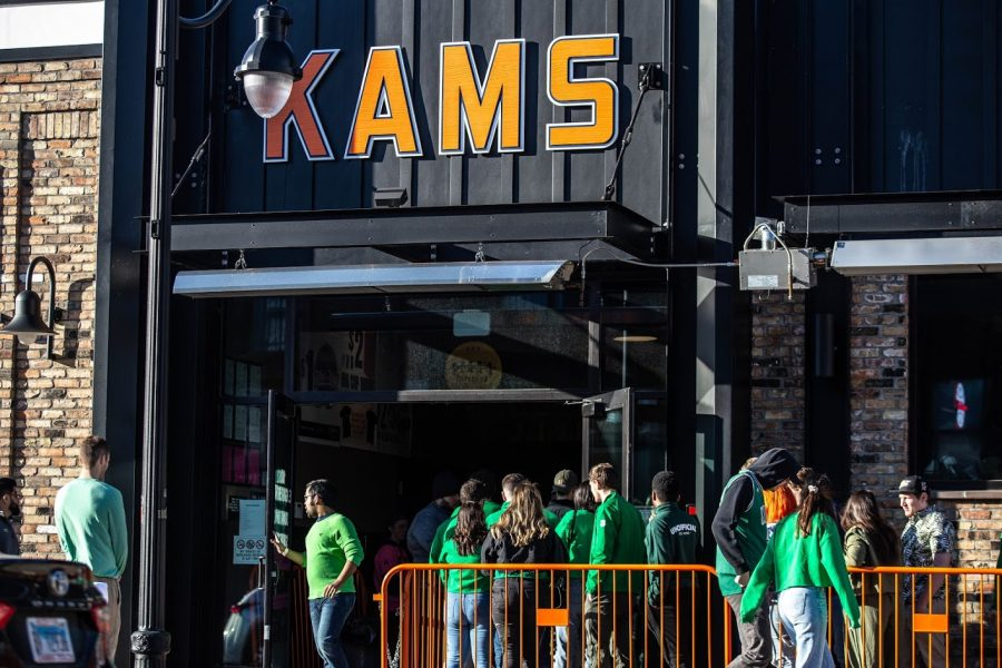 A sea of green fills the line at KAM's during Unofficial on March 6, 2020.