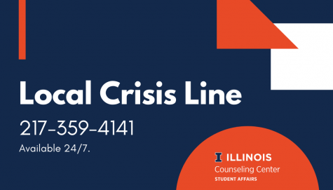 A graphic of the Local Crisis Line with phone number attached. Counselors are available at all times if you need help.