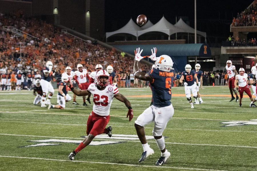 Illinois wide receiver Josh Imatorbhebhe catches a touchdown pass during the game against Nebraska on Sept. 21, 2019. Imatorbhebhe is declaring for the 2021 NFL Draft.