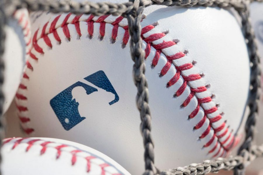 A baseball with the MLB logo sits at Citizens Bank Park before a game between the Washington Nationals and Philadelphia Phillies on June 28, 2018 in Philadelphia, Pennsylvania.