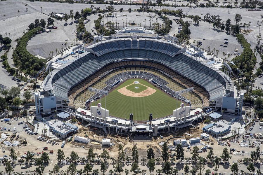 Dodger Stadium sits empty in Los Angeles on March 25, 2020.