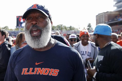 Illinois head coach Lovie Smith celebrates after a game-winning field goal as time expired in a 24-23 victory against Wisconsin at Memorial Stadium on Oct. 19, 2019, in Champaign, IL.