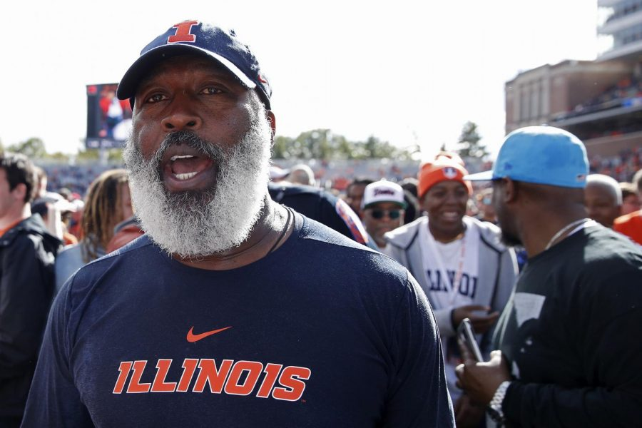 Illinois+head+coach+Lovie+Smith+celebrates+after+a+game-winning+field+goal+as+time+expired+in+a+24-23+victory+against+Wisconsin+at+Memorial+Stadium+on+Oct.+19%2C+2019%2C+in+Champaign%2C+IL.