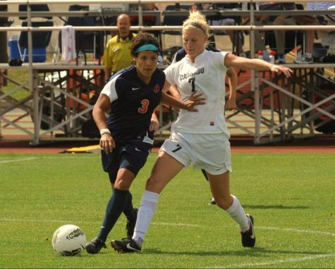 Senior Midfielder Jackie Guerra battles for control of the ball during the match against Colorado on Sept. 7, 2011.