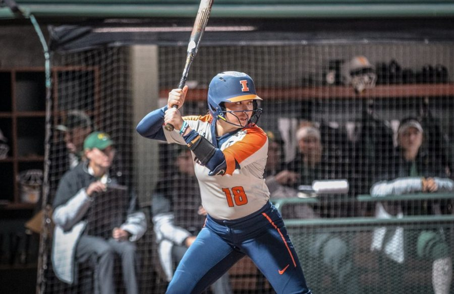 Junior+Catcher+Bella+Loya+waits+for+the+pitch+during+the+match+against+Baylor+on+Feb.+21.