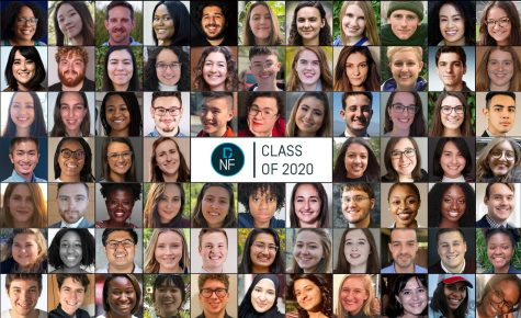 The faces of the Dow Jones News Fund Intern Class of 2020. Heather Schlitz (first column, third row) and Sidney Madden (seventh column, sixth row) will represent the University of Illinois for the second year in a row.