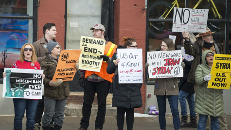 Anti-Trump protesters demonstrate in Minneapolis on the anniversary of his inauguration on Jan. 20, 2018.