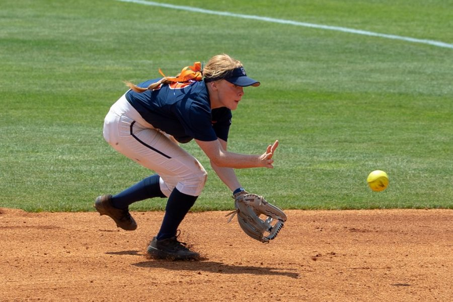 Freshman Avrey Steiner fields the ball during the match against Virginia Tech on May 17, 2019.