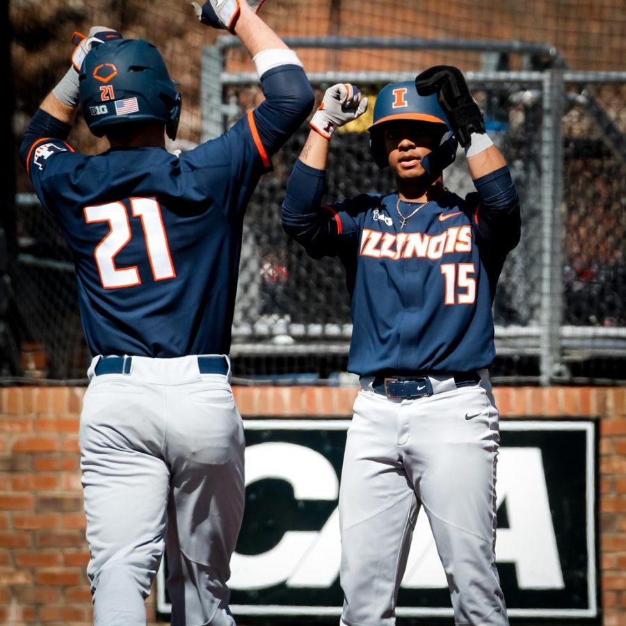 Junior Taylor Jackson and Freshman Danny Doligale celebrate during the match against Elon on March 8.