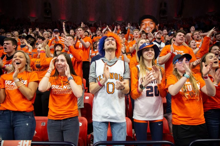 Students+in+the+fan+section+cheer+during+the+basketball+match+against+Iowa+on+March+8+at+State+Farm+Center.+With+the+future+of+fall+sports+still+up+in+the+air%2C+students+are+searching+for+ways+to+continue+supporting+Illinois+sports+teams.