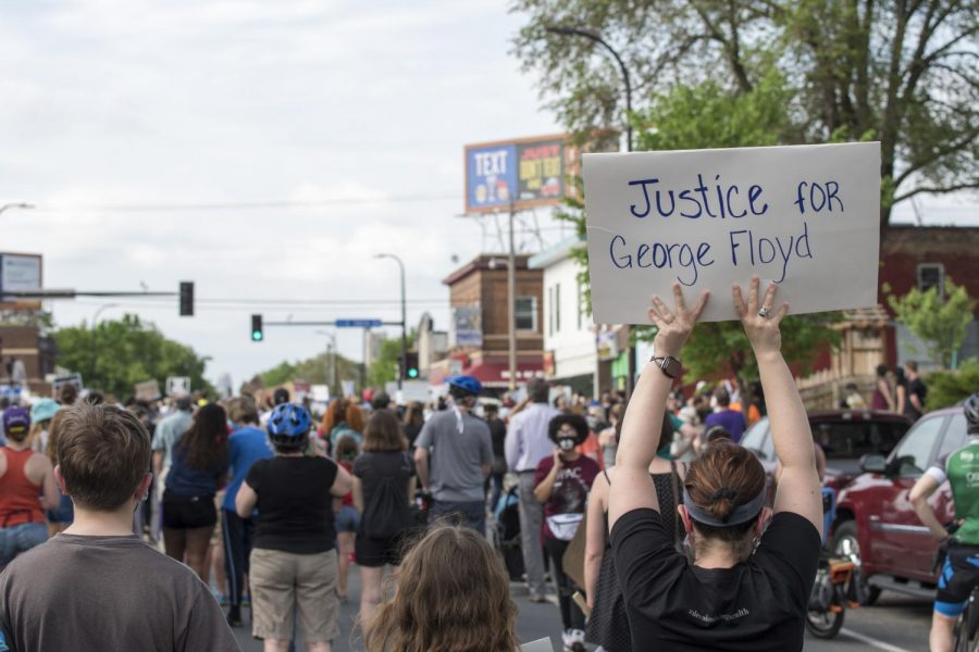Demonstrators gather in Minneapolis, Minnesota to protest the death of George Floyd on May 26.