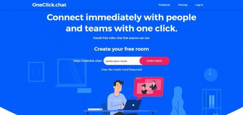The homepage of the OneClick website, which provides free video chat to users, rests on Sunday.