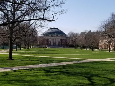 The University of Illinois quad sits empty during what would have been Mom's Weekend in early April.