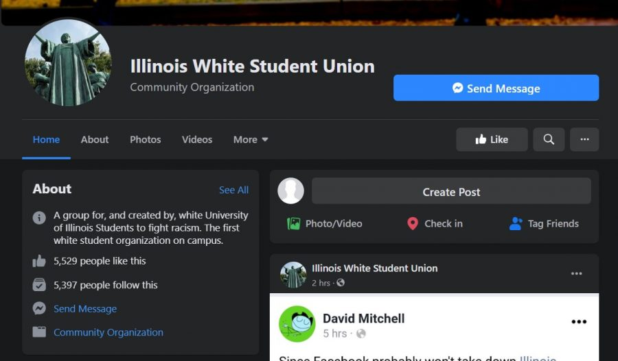 The+landing+page+for+the+%22+Illinois+White+Student+Union%22+Facebook+group+features+photos+of+Alma+Mater+and+the+quad.+The+page+is+not+affiliated+with+the+University+of+Illinois.