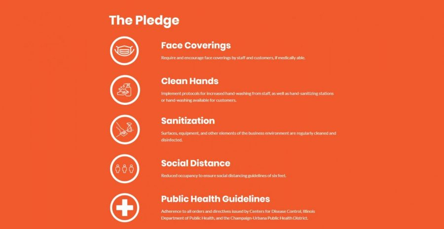 The Pledge featured on the Champaign County Safe website gives tips on how to lessen the spread of coronavirus.