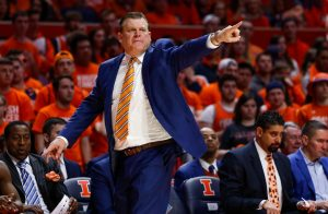 Illinois Head Coach Brad Underwood points towards the court during the match against Nebraska at State Farm Center in Champaign, Illinois on Monday, Feb. 24.