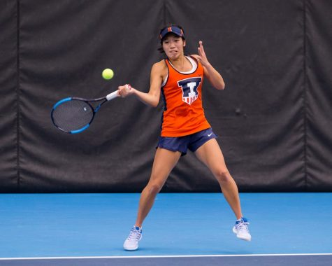 Illinois' Asuka Kawai returns the ball during the match against Notre Dame at Atkins Tennis Center on Friday, Feb. 8, 2019. The Illini won 4-3.