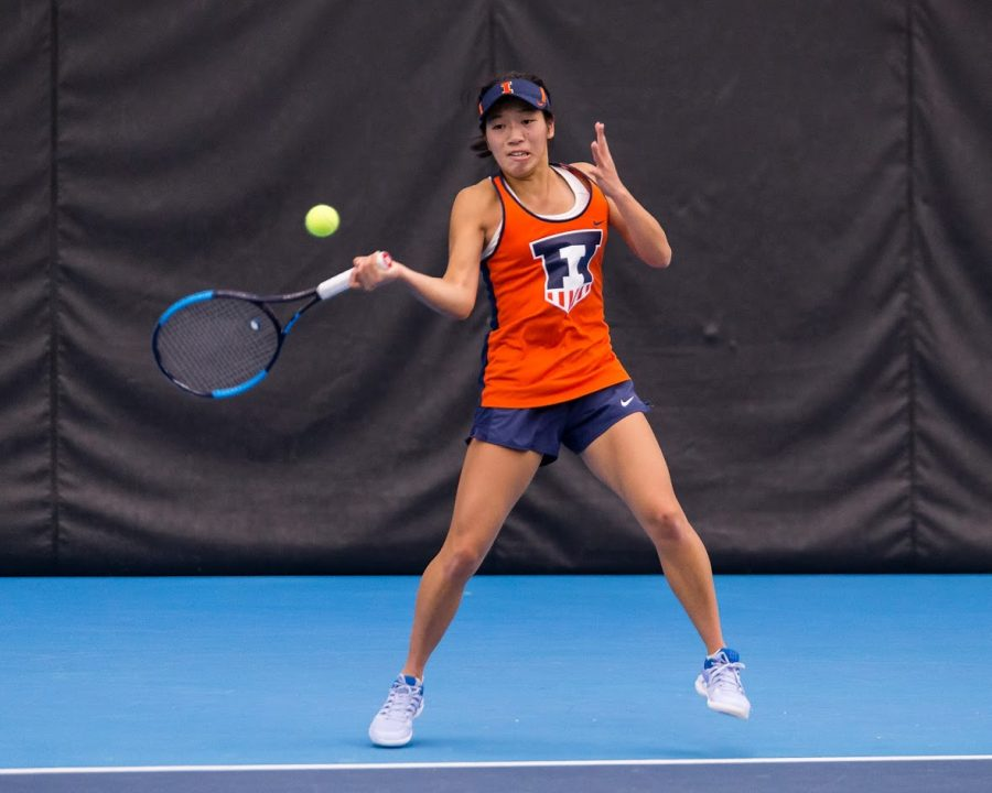 Illinois%27+Asuka+Kawai+returns+the+ball+during+the+match+against+Notre+Dame+at+Atkins+Tennis+Center+on+Friday%2C+Feb.+8%2C+2019.+The+Illini+won+4-3.