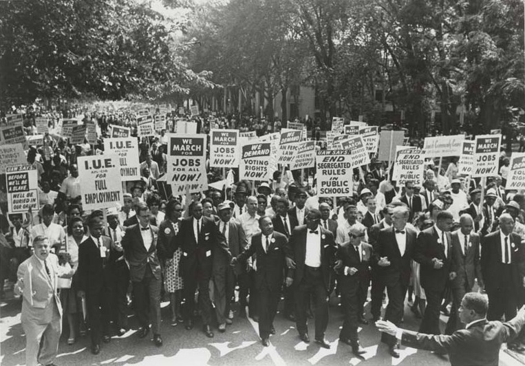 Demonstrators, led by Martin Luther King Jr, participate in the March on Washington for Jobs and Freedom on Aug. 28, 1963.