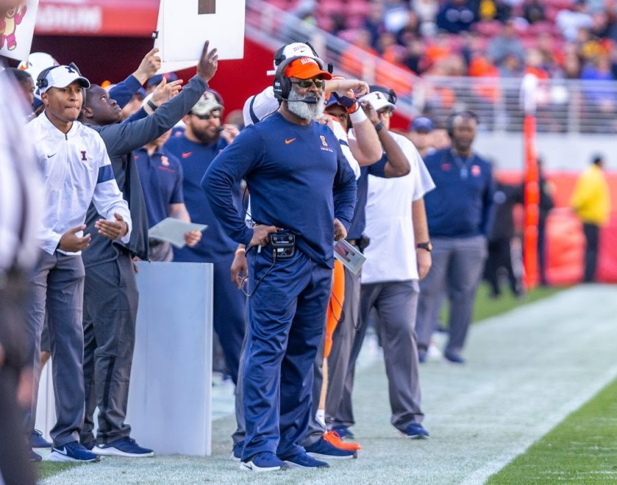 Illinois Head Football Coach Lovie Smith watches from the sideline during the Redbox Bowl match against California  on Dec. 30, 2019 in Santa Clara, CA.