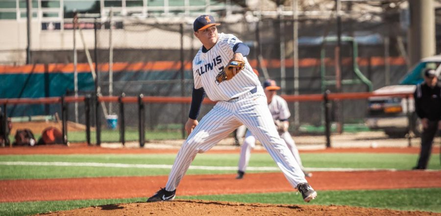 Senior Ty Weber steps into a pitch during competition.