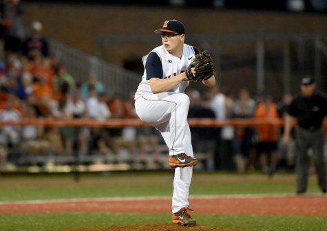 Junior Kevin Duchene winds up for a pitch during competition in the 2015 season.