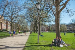Students gather on the Main Quad on April 23, 2019.
