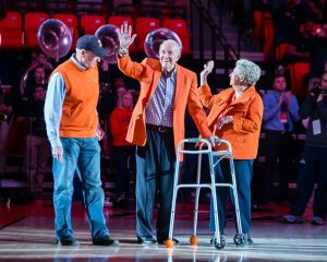 Former Illinois head coach Lou Henson is recognized at halftime in the game against Penn State at State Farm Center on Saturday, Feb. 23, 2019.