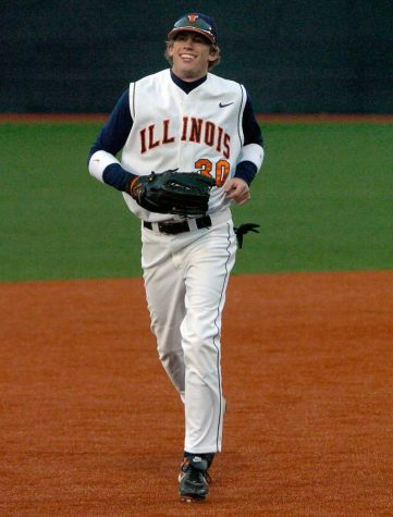 Junior Kyle Hudson jogs back to the dugout during the game against Illinois College on Wednesday, April 9,, 2008.