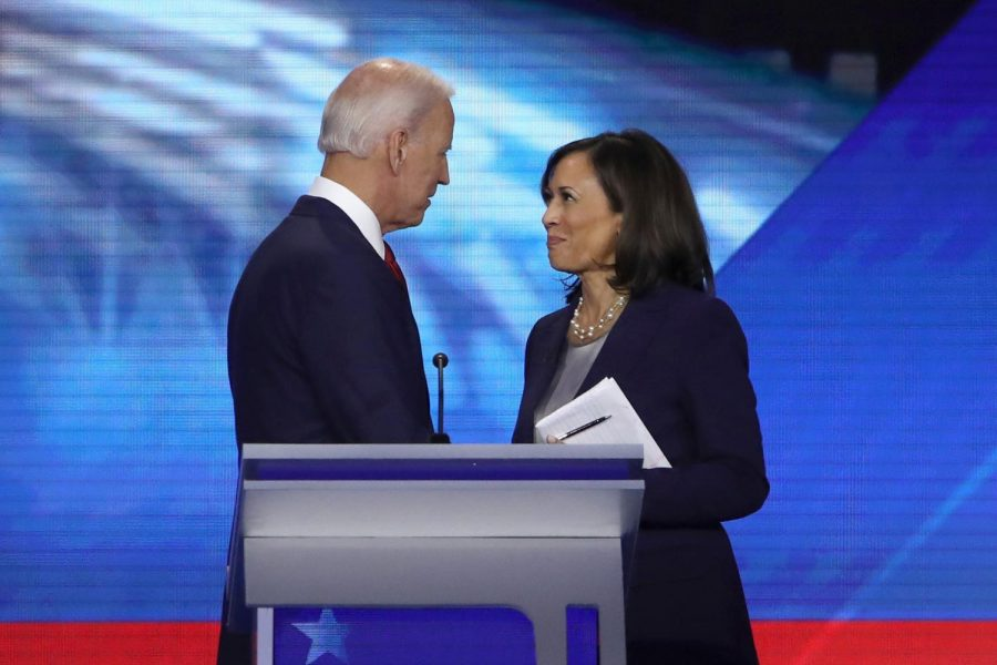 Democratic presidential candidates former Vice President Joe Biden and Sen. Kamala Harris speak after the Democratic Presidential Debate at Texas Southern University's Health and PE Center on Sept. 12, 2019 in Houston, Texas.