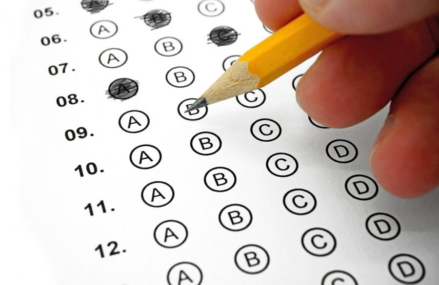 A student bubbles in answers on a standardized test.