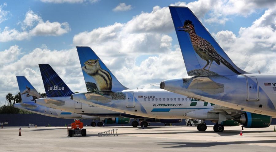 Frontier and JetBlue planes sit parked at Orlando International Airport in June.