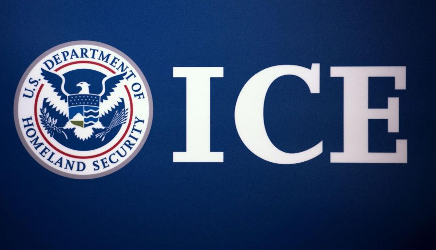 The Immigration and Customs Enforcement  seal is seen before a news conference on July 22, 2014, at ICE headquarters in Washington, D.C.