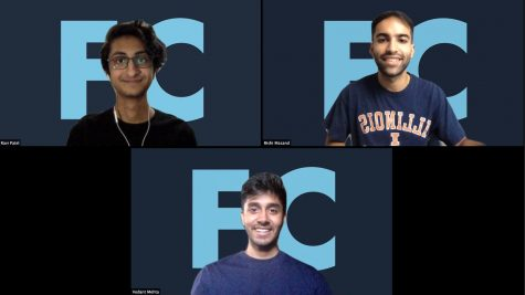 The creators of the FinalsClub app, Ravi Patel, Rishi Masand and Vedant Mehta pose for a photo in a Zoom call.