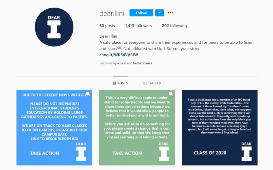 The+dearillini+Instagram+account+features+testimonials+from+Illinois+students+about+discrimination+they%27ve+experienced.