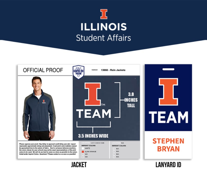 A mock-up for the I Team depicts a possible design for a rain jacket and lanyard.