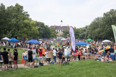 Students and representatives for Registered Student Organizations mingle on Quad Day on Aug. 26, 2019.