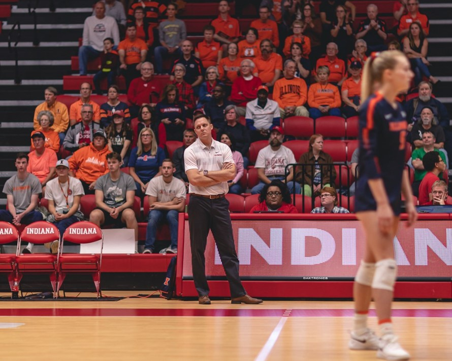 Illinois Women's Volleyball Head Coach Chris Tamas stands on the sidelines during the match against Indiana on Oct. 4, 2019 in Bloomington, IN.