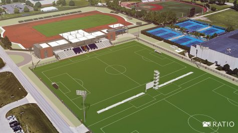 A graphic renders what Demirjian Park will look like post-construction. The facility will be shared by the Illinois soccer team and the men's and women's track and field teams.