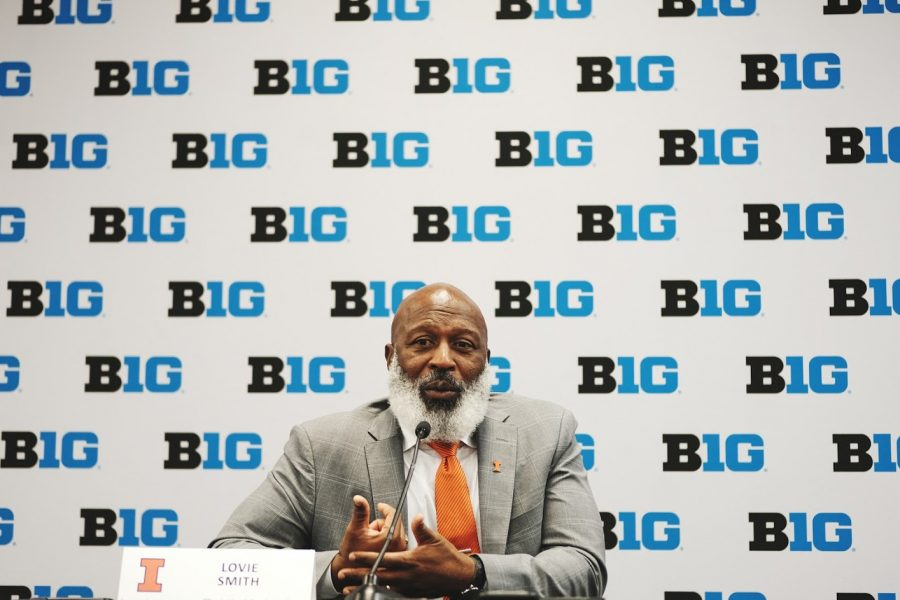 Illinois Head Football Coach Lovie Smith sits and awaits questions during Big Ten Media Days on July 18, 2019.