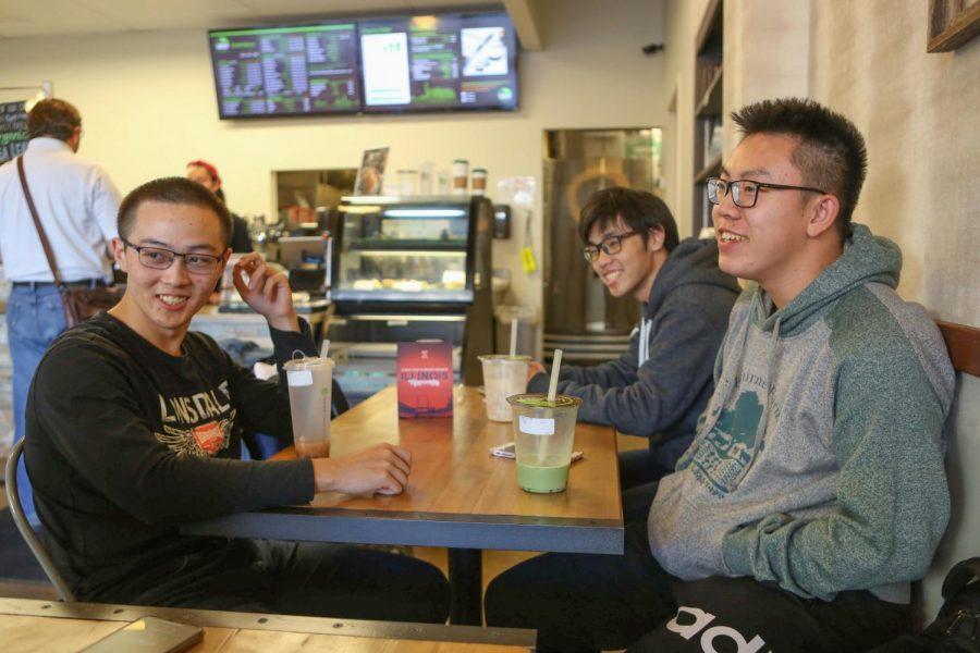 A group of international students enjoys bubble tea on Oct. 19, 2019.