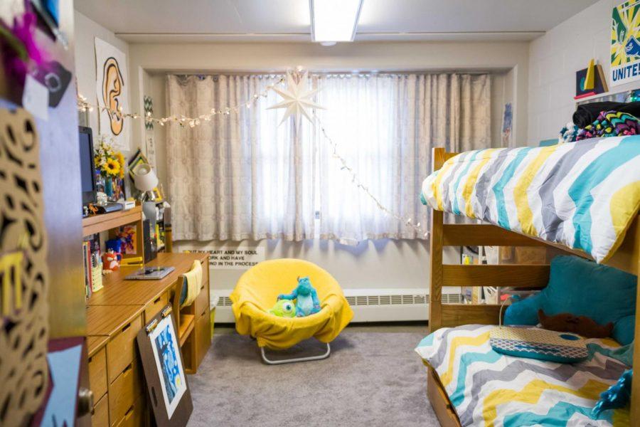 A decorated dorm room in Taft-Van Doren hall rests empty in August 2015.