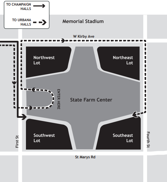 The University-provided map of State Farm Center for students moving in from Aug. 16-21. Students will pick up their room keys, PPE kits and personal maps to get to their hall.