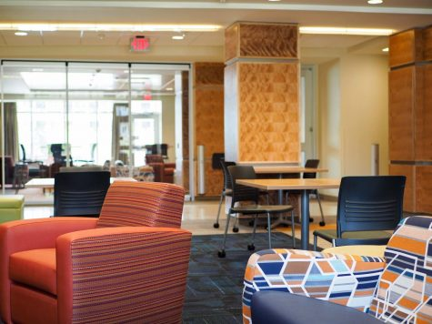 Furniture fills the common area of one of the newer dorms, Wassaja Hall, on August 17, 2016.
