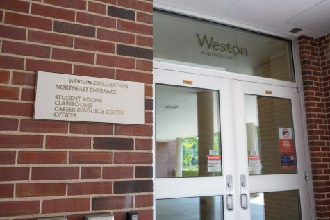 The entrance to the North East section of Weston Hall remains locked on Aug. 26. Some of the students in quarantine are currently residing in the first floor of this section of Weston Hall.